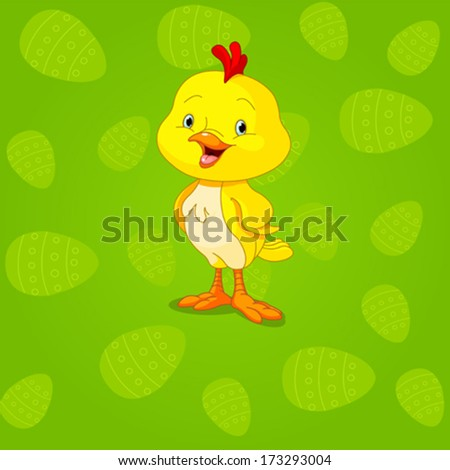 Easter cute little chick background - stock vector