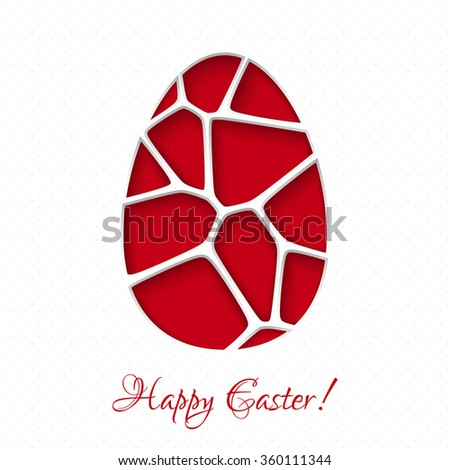 Easter 3D paper card with egg in red color. Vector illustration EPS10. - stock vector