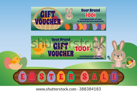 Easter day dale gift voucher template stock vector 388384183 easter day dale gift voucher template vector designs with cartoon rabbit and chick negle Images