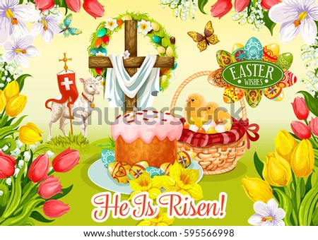 Easter Day Wishes Greeting Card Egg And Cake Hunt Basket With Chicken