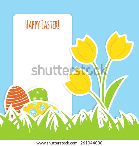 easter design - three colorful eggs and three tulip in green grass, blue sky and white frame for your text, applique vector illustration - stock vector