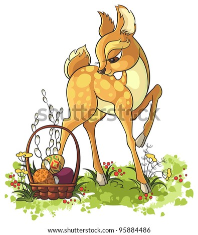 Easter design. Young deer with Easter basket - stock vector