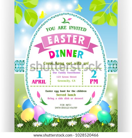 Easter Dinner Announcing Poster Template Text Stock Vector