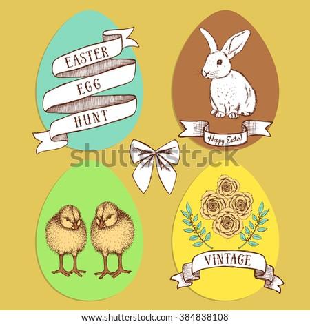 Easter edd hunt set in vintage style, vector - stock vector