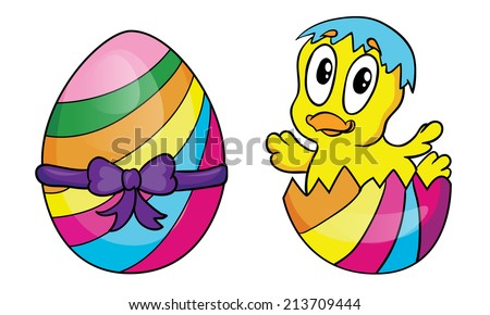 Easter egg and chicken, vector illustration on white background - stock vector