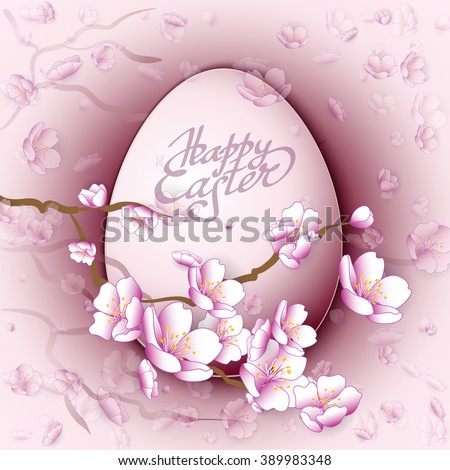 Easter egg and pink sakura flowers background. Vector illustration