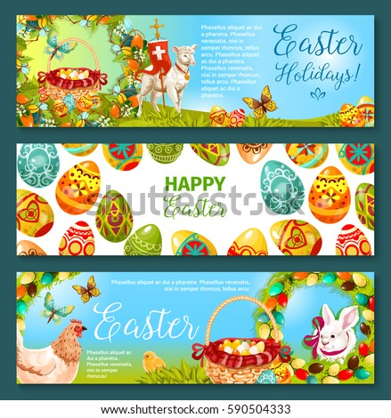 Easter Egg And Rabbit Cartoon Banner Set Patterned Eggs Bunny On Green Grass With