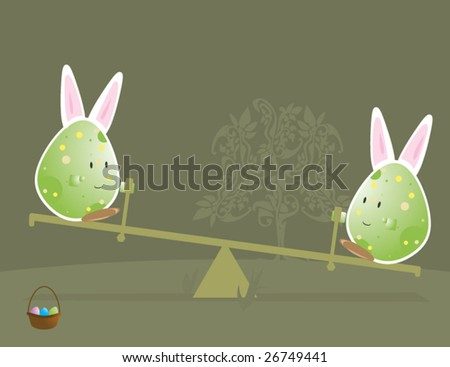 Easter egg characters with bunny ears 2 - vector - stock vector