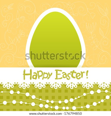 Easter egg floral card with lace and beads