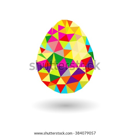 Easter egg from triangles colorful easter egg with triangles on a white background with shadow