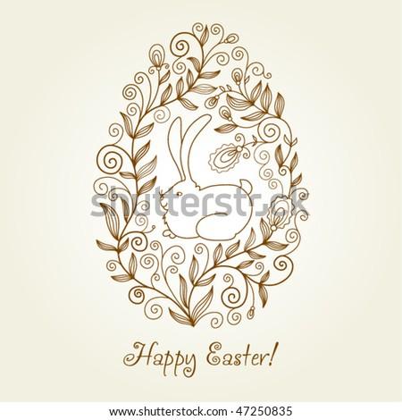 easter egg, greeting card - stock vector