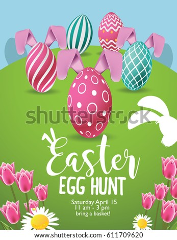 Easter Egg Hunt Background With Colorful Eggs Tulips And Daisies EPS 10 Vector