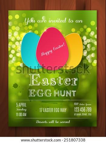 Easter Egg Hunt Flyer Black And White