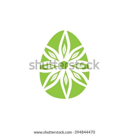 Easter egg icon green and white vector illustration - stock vector