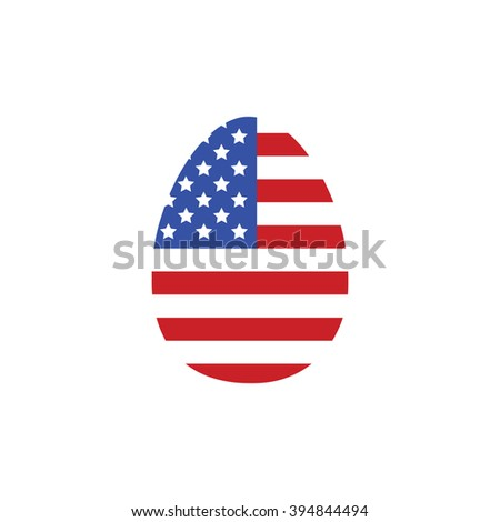 Easter egg icon USA flag vector illustration