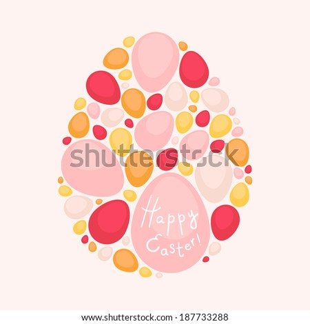 Easter egg multicolored card  - stock vector