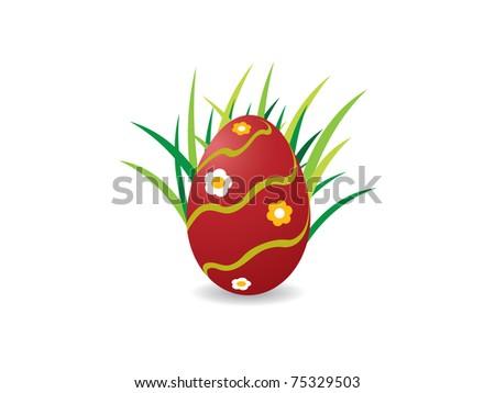 Easter egg on green grass - stock vector