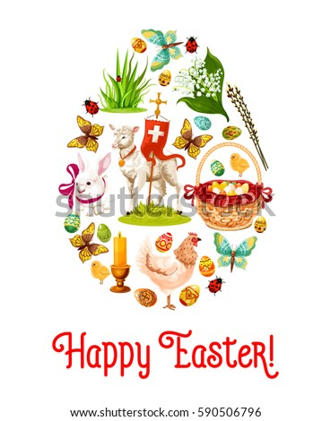 Easter Egg Poster With Holiday Symbols Patterned Eggs Rabbit Bunny Hunt