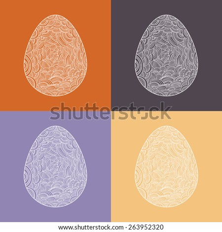 easter egg set - stock vector