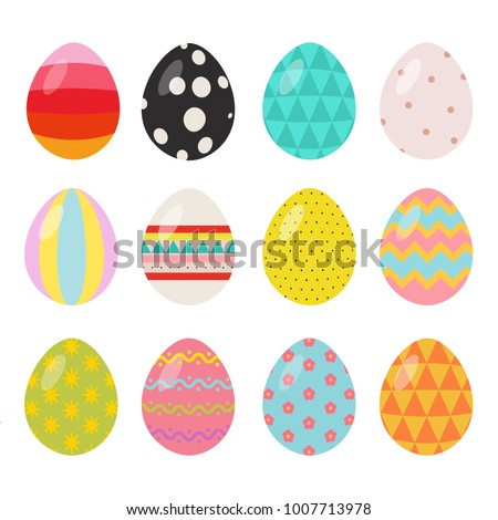 Easter egg set of 12 with a variety of different patterns and colors for use on easter themed promotional materials or holiday cards.