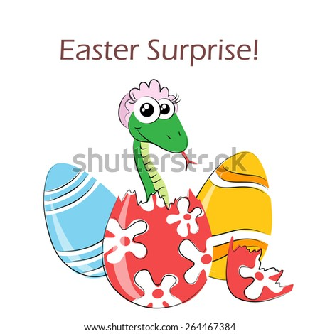 Easter egg surprise with cartoon snake - stock vector