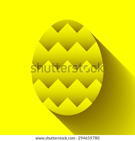 Easter egg symbol with zigzag pattern for greeting cards, decoration, icon designs and as part of other creative works.
