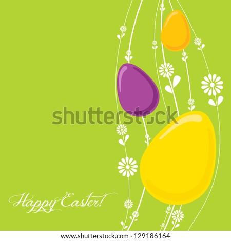 Easter egg template with spring flowers - stock vector