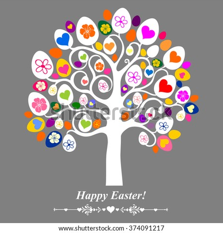 Easter egg tree. Vintage card. Vector Illustration