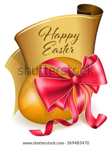 Easter egg with bow - stock vector