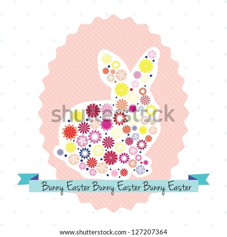 Easter egg with bunny and flowers. Vector illustration - stock vector