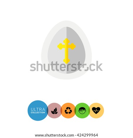 Easter egg with cross flat icon - stock vector