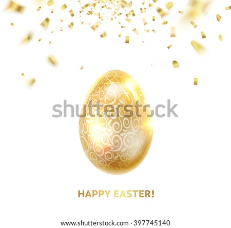 Easter egg with curves of ribbon confetti. Happy easter card over gray background with golden sparks. - stock vector