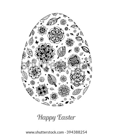Easter egg with floral pattern. Happy Easter text greeting card. Vector artwork. Coloring book page for adult. Holiday concept for invitation, card, ticket, branding, logo, label, emblem. Black, white - stock vector