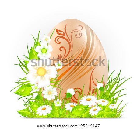 Easter egg with flowers on green grass, holiday vector illustration