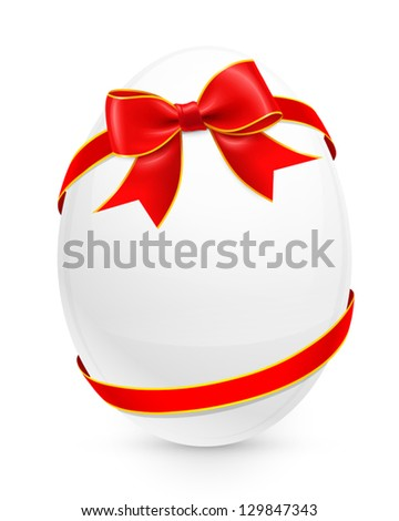 Easter egg with red bow. Vector