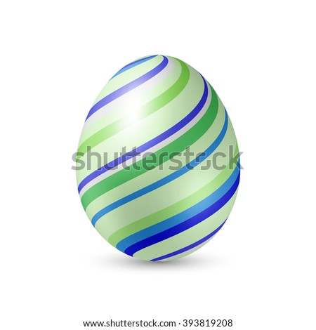 Easter Egg with Strips Pattern Texture - Standing Vertically on White with Shadow