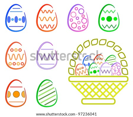 Easter Eggs and Basket - (Style = Clean)