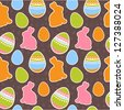 Easter eggs and bunnies colorful seamless pattern - stock vector