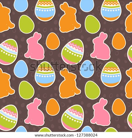 Easter eggs and bunnies colorful seamless pattern