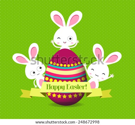 easter eggs and bunny greeting card - stock vector