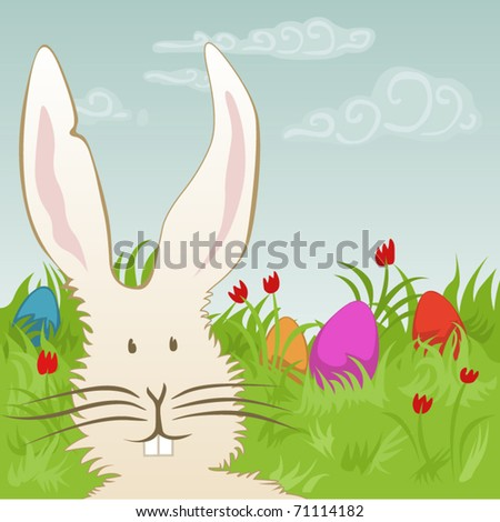 easter eggs and bunny on a meadow