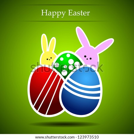 Easter eggs and rabbit on a green background - stock vector