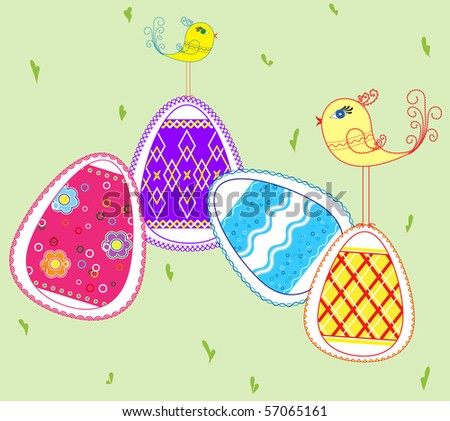 Easter eggs and small birds - stock vector