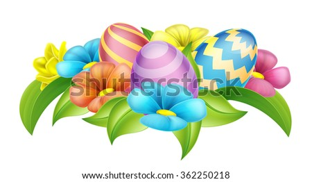 Easter eggs and spring flowers cartoon design element - stock vector