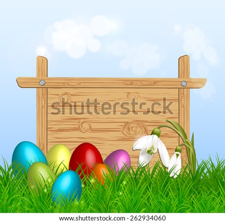 Easter eggs around a wood sign board on green grass. Vector eps10. - stock vector