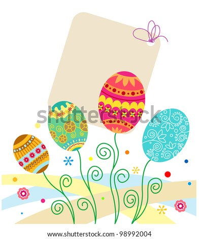 Easter eggs background for holiday cards design. Vector illustration