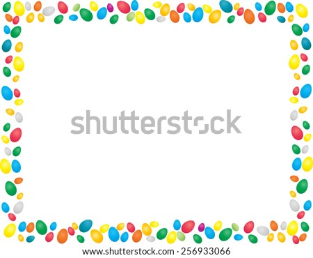 Easter Eggs Border Frame With Space For Your Text
