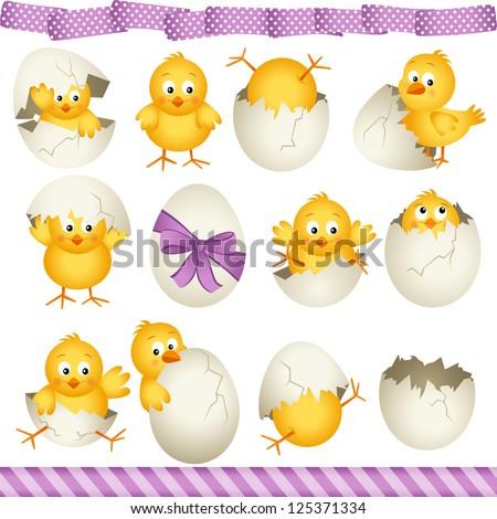 Easter eggs chicks - stock vector
