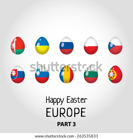Easter eggs colored as flags of European countries - part 3