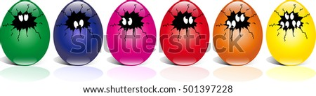 easter eggs comic style with eyes in a row, isolated on white background
